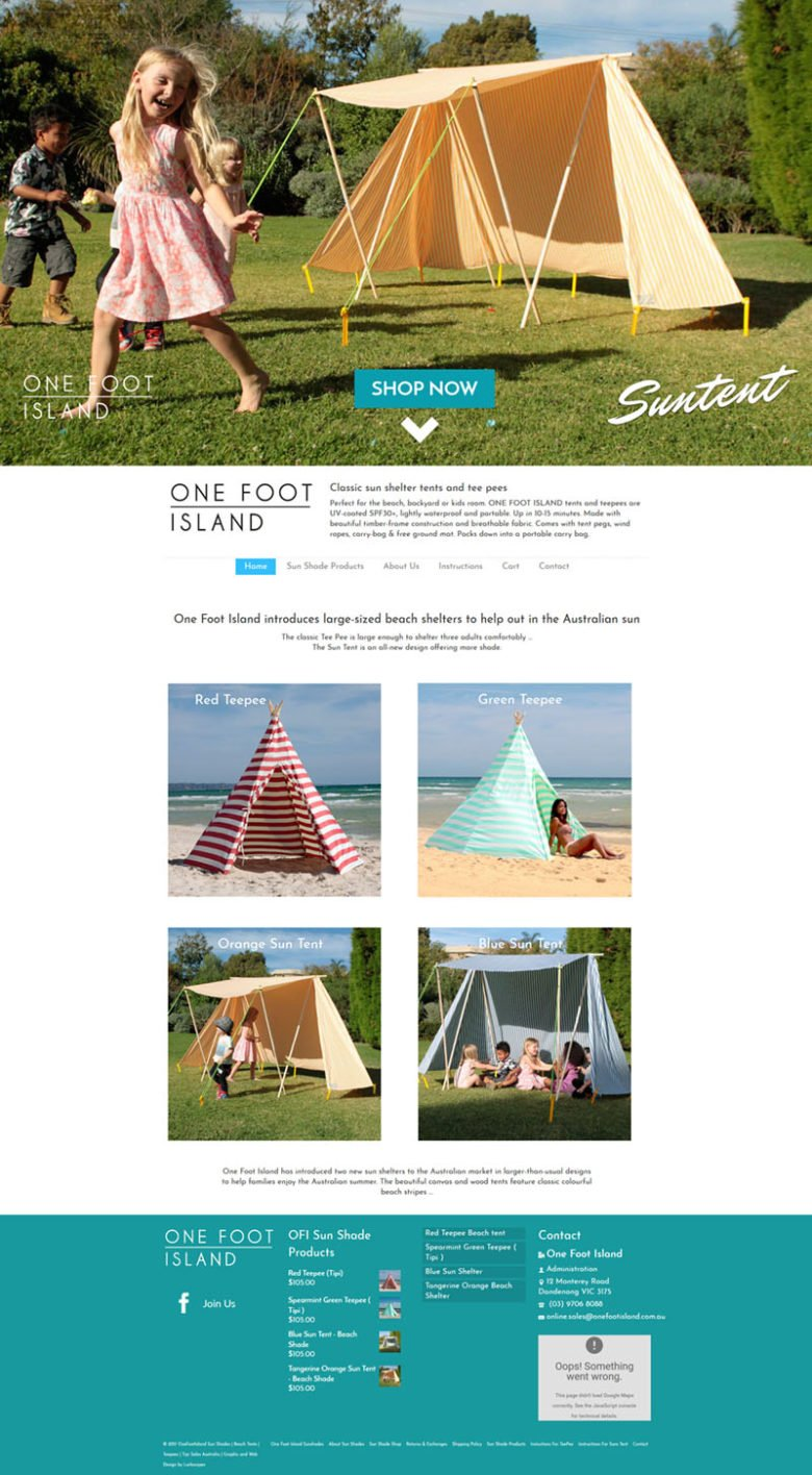 one foot island website design Larkscapes